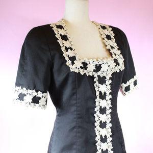 Black and Cream Crochet Hem Square Neck Blouse